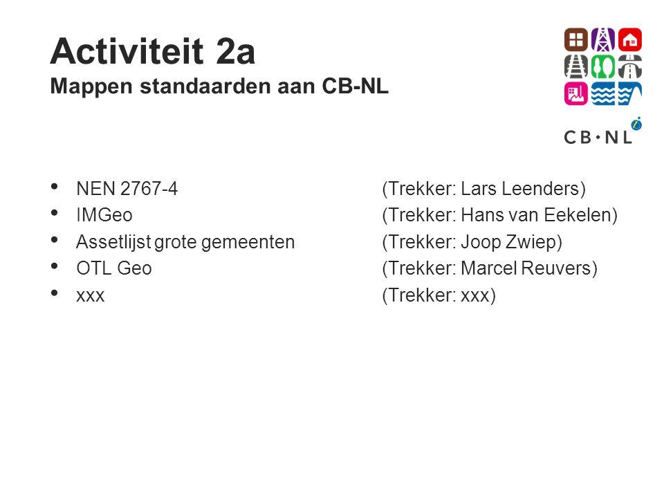 Activiteit 2a Mappen standaarden aan CB-NL NEN 2767-4(Trekker: Lars Leenders) IMGeo(Trekker: Hans van Eekelen) Assetlijst grote gemeenten(Trekker: Joo