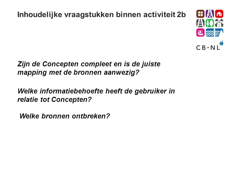 Inhoudelijke vraagstukken binnen activiteit 2b Welke informatiebehoefte heeft de gebruiker in relatie tot Concepten? Zijn de Concepten compleet en is