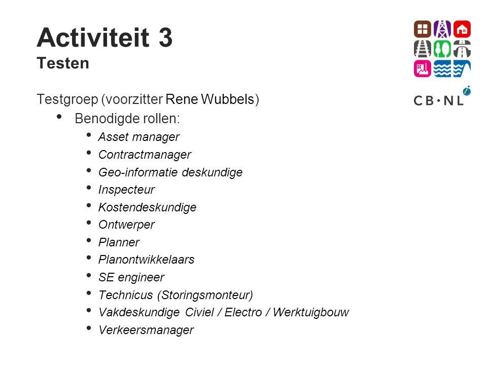 Activiteit 3 Testen Testgroep (voorzitter Rene Wubbels) Benodigde rollen: Asset manager Contractmanager Geo-informatie deskundige Inspecteur Kostendes