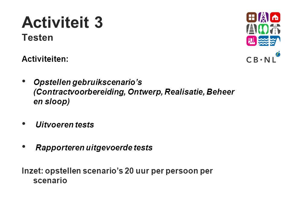 Activiteit 3 Testen Activiteiten: Opstellen gebruikscenario's (Contractvoorbereiding, Ontwerp, Realisatie, Beheer en sloop) Uitvoeren tests Rapportere