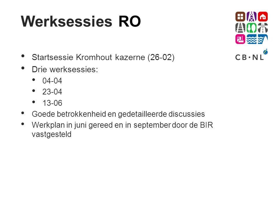 Werksessies RO Startsessie Kromhout kazerne (26-02) Drie werksessies: 04-04 23-04 13-06 Goede betrokkenheid en gedetailleerde discussies Werkplan in j