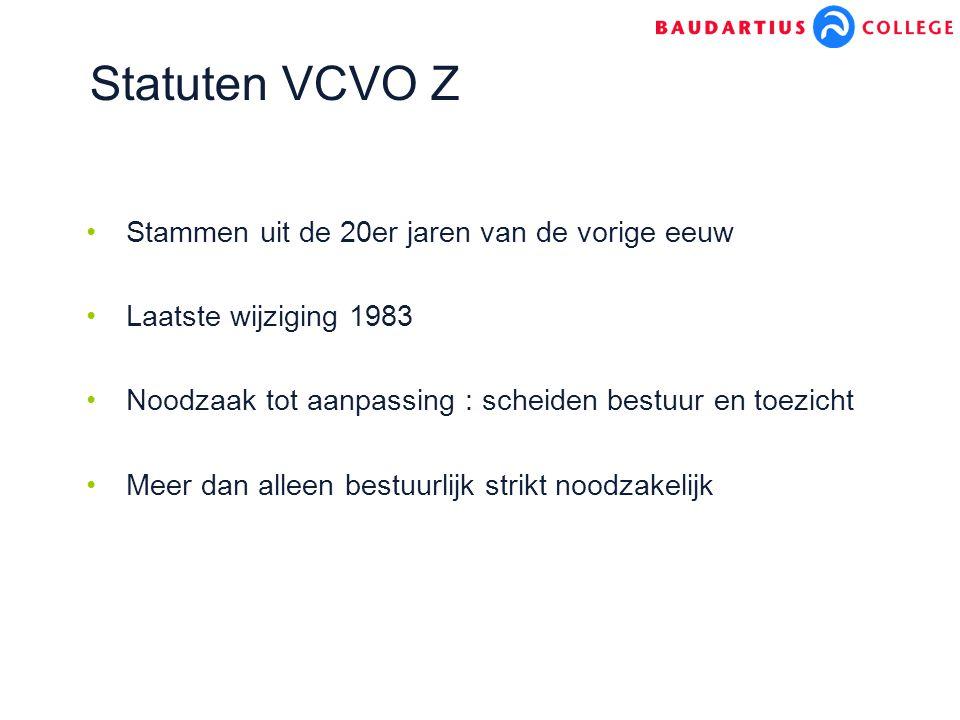 Statuten VCVO Z Stammen uit de 20er jaren van de vorige eeuw Laatste wijziging 1983 Noodzaak tot aanpassing : scheiden bestuur en toezicht Meer dan alleen bestuurlijk strikt noodzakelijk