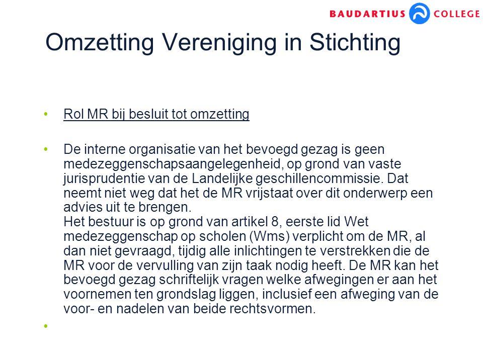 Omzetting Vereniging in Stichting Rol MR bij besluit tot omzetting De interne organisatie van het bevoegd gezag is geen medezeggenschapsaangelegenheid, op grond van vaste jurisprudentie van de Landelijke geschillencommissie.