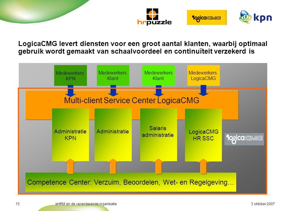 3 oktober 2007eHRM en de veranderende organisatie13 Kwaliteit en Continuïteit (3/4) LogicaCMG levert diensten voor een groot aantal klanten, waarbij o