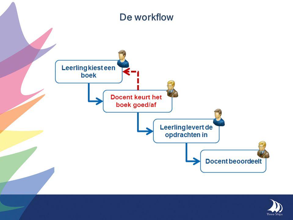 De workflow Docent keurt het boek goed/af