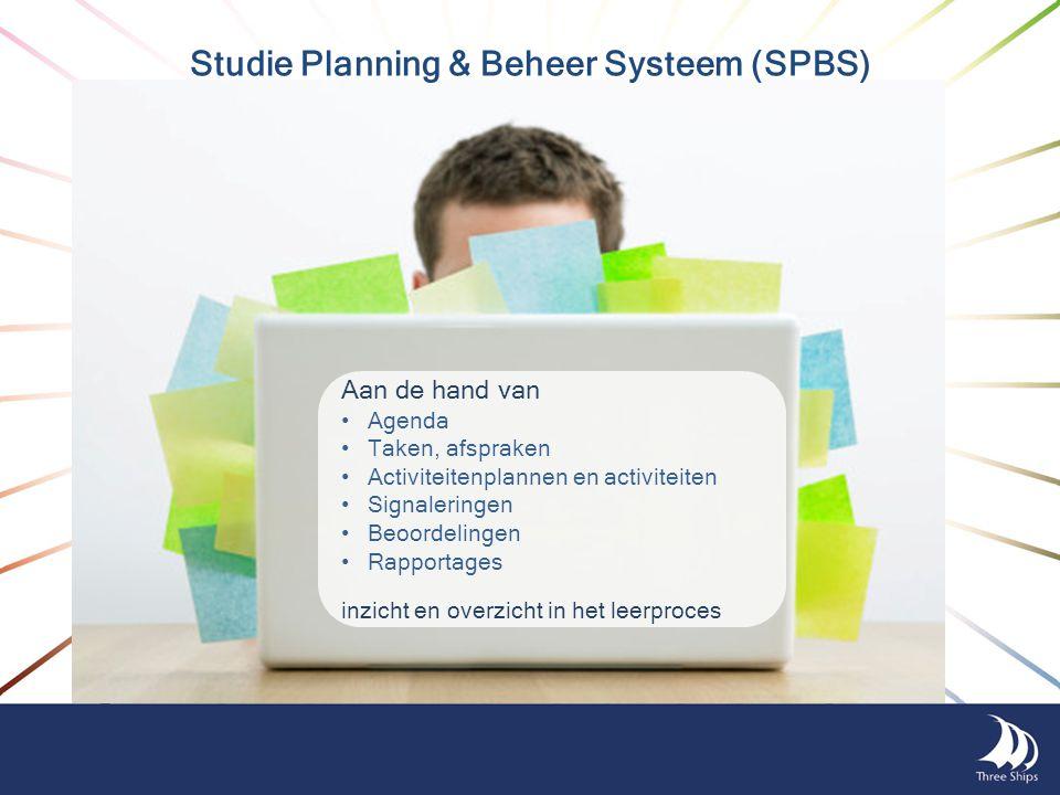 Studie Planning & Beheer Systeem (SPBS) Aan de hand van Agenda Taken, afspraken Activiteitenplannen en activiteiten Signaleringen Beoordelingen Rappor