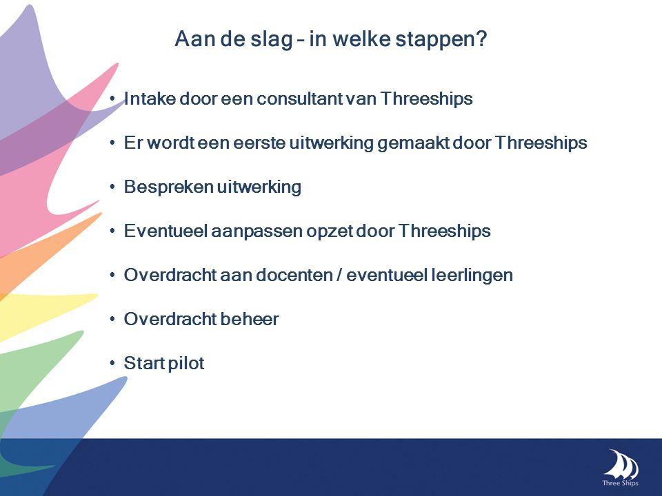Aan de slag – in welke stappen? Intake door een consultant van Threeships Er wordt een eerste uitwerking gemaakt door Threeships Bespreken uitwerking