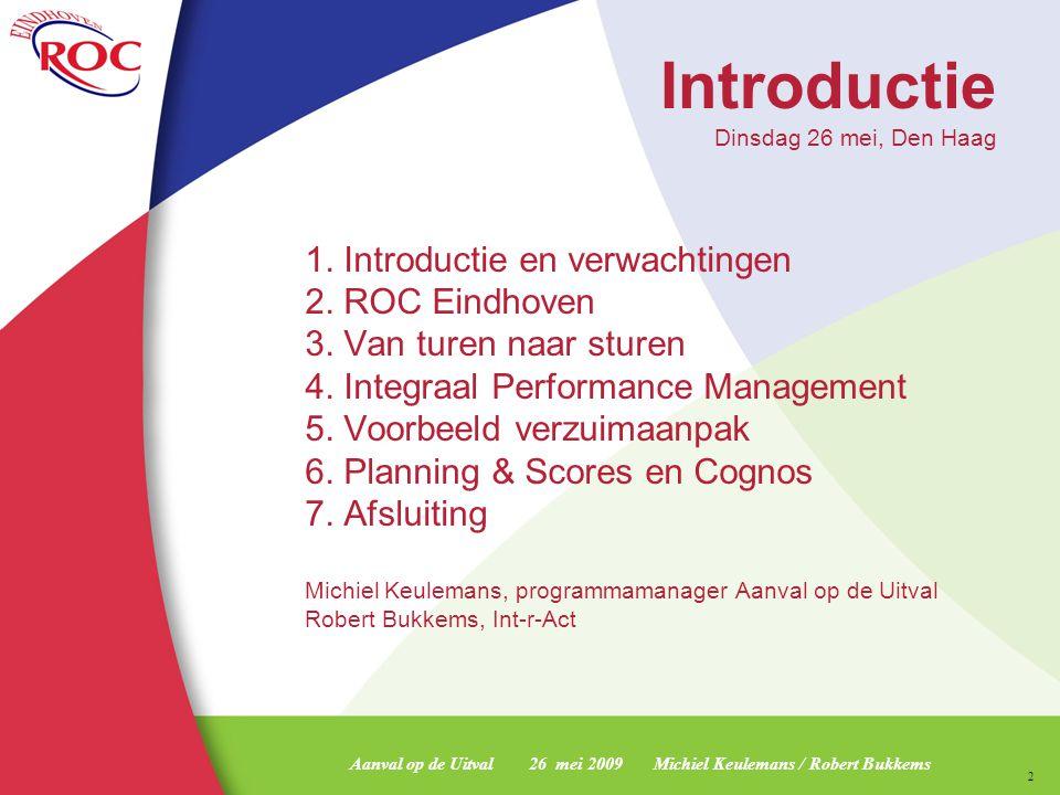 Aanval op de Uitval 26 mei 2009 Michiel Keulemans / Robert Bukkems 3 ROC Eindhoven 23 scholen voor MBO 1 Montessori college 1 school voor volwasseneducatie 22.500 studenten 1.500 personeelsleden Jaaromzet € 120.000.000,- Huidig VSV-% nu : 8,4 % Huidig VSV-% -1 jaar : 8,5 % Huidig VSV-% - 2 jaar : 9,3 %