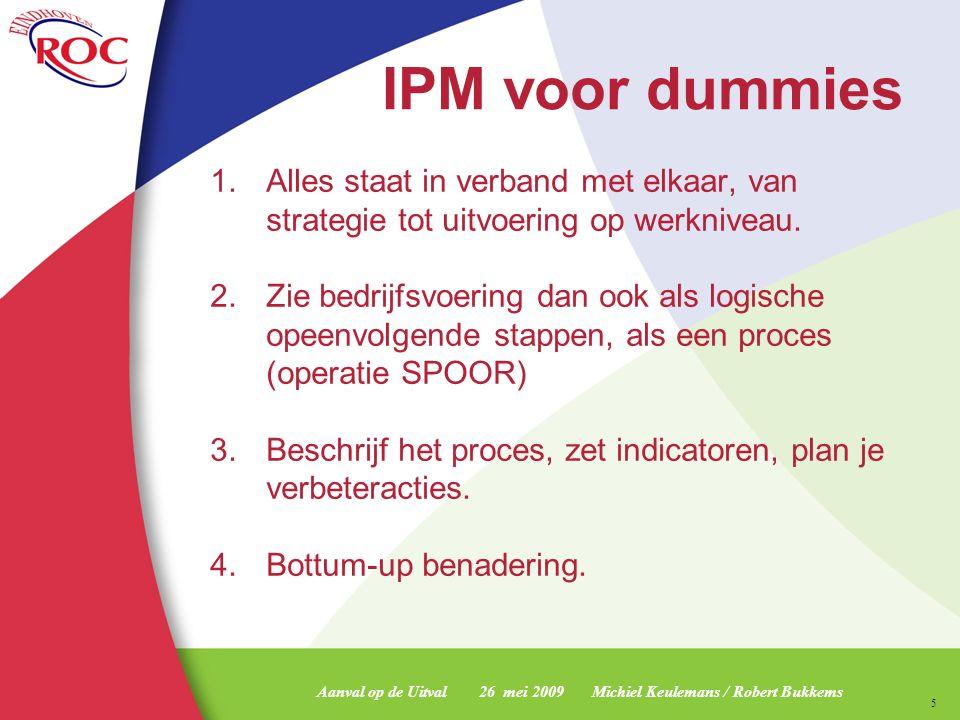 Aanval op de Uitval 26 mei 2009 Michiel Keulemans / Robert Bukkems 6 IPM voor professionals www.int-r-act.nl Student Doelen KPI Strategisch Uitvoerings Plan Laag Frequent Hoog Frequent oorzaak en gevolg Doelen geven aan wat de organisatie wil bereiken.