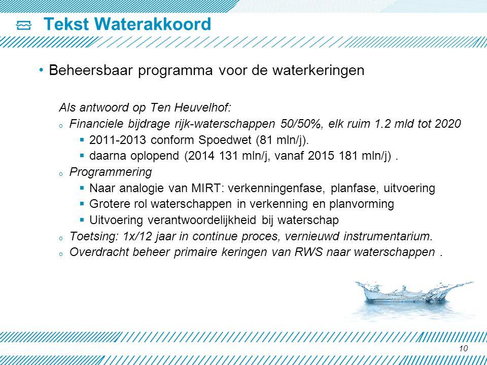Tekst Waterakkoord Beheersbaar programma voor de waterkeringen Als antwoord op Ten Heuvelhof: o Financiele bijdrage rijk-waterschappen 50/50%, elk rui