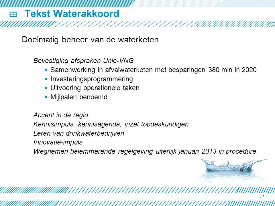 Tekst Waterakkoord Doelmatig beheer van de waterketen Bevestiging afspraken Unie-VNG  Samenwerking in afvalwaterketen met besparingen 380 mln in 2020