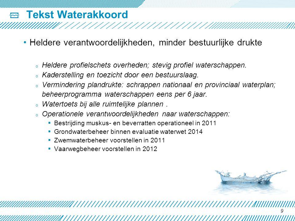 Tekst Waterakkoord Heldere verantwoordelijkheden, minder bestuurlijke drukte o Heldere profielschets overheden; stevig profiel waterschappen. o Kaders