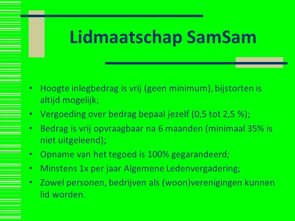 Lidmaatschap SamSam Hoogte inlegbedrag is vrij (geen minimum), bijstorten is altijd mogelijk; Vergoeding over bedrag bepaal jezelf (0,5 tot 2,5 %); Be