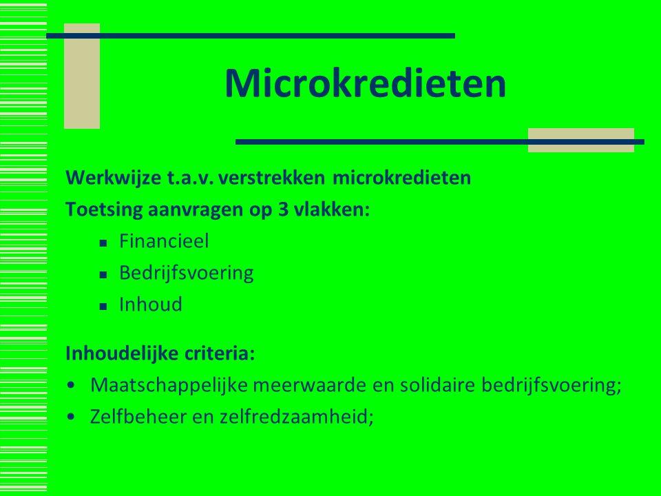 Microkredieten Werkwijze t.a.v. verstrekken microkredieten Toetsing aanvragen op 3 vlakken: Financieel Bedrijfsvoering Inhoud Inhoudelijke criteria: M