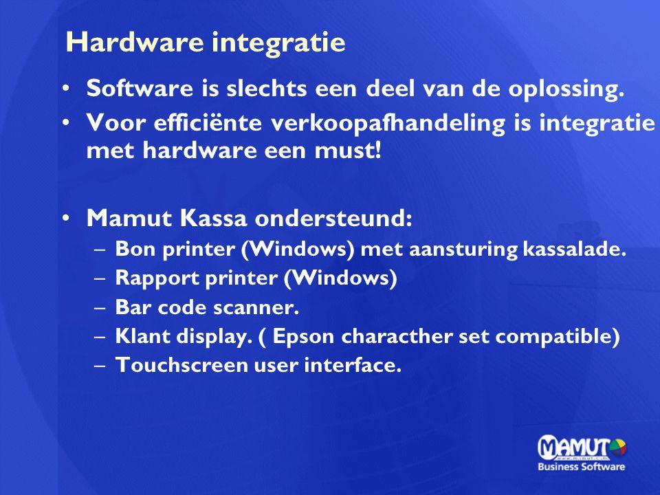 Hardware integratie Software is slechts een deel van de oplossing. Voor efficiënte verkoopafhandeling is integratie met hardware een must! Mamut Kassa