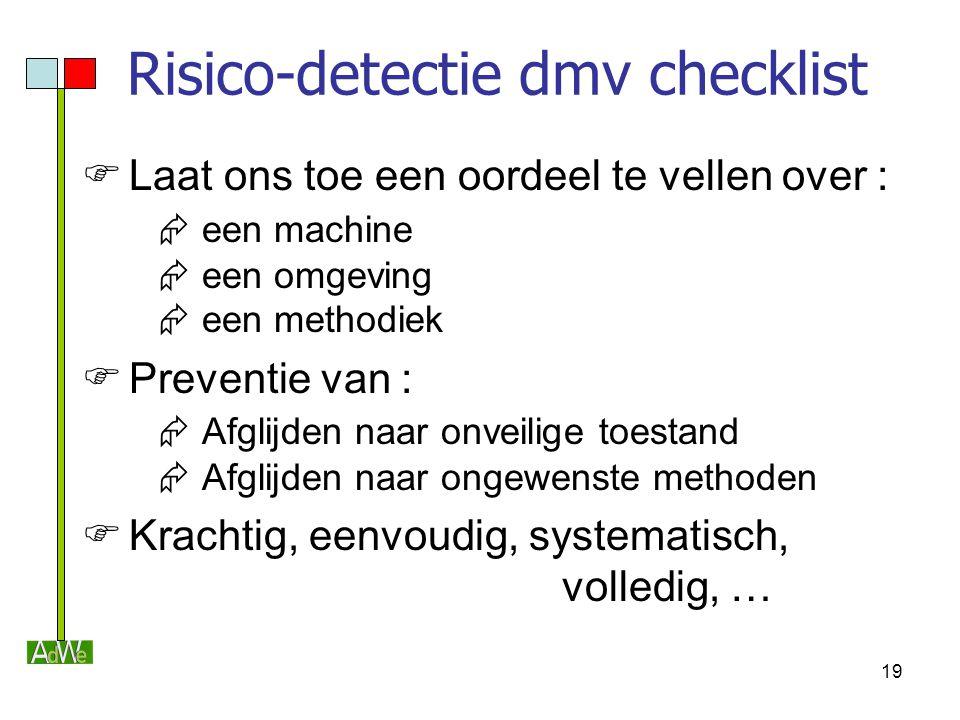 19 Risico-detectie dmv checklist  Laat ons toe een oordeel te vellen over :  een machine  een omgeving  een methodiek  Preventie van :  Afglijde