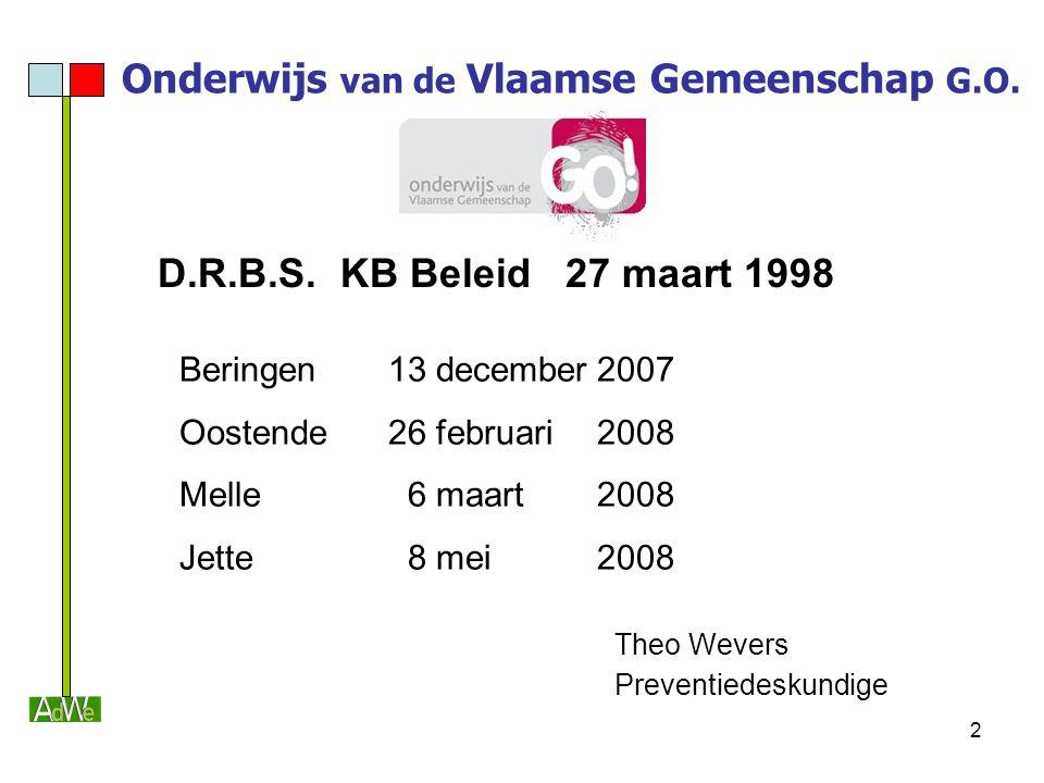 2 Onderwijs van de Vlaamse Gemeenschap G.O. D.R.B.S. KB Beleid 27 maart 1998 Beringen13 december2007 Oostende26 februari2008 Melle 6 maart2008 Jette 8