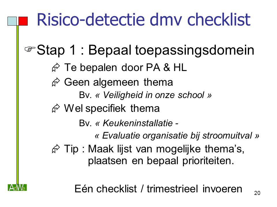 20 Risico-detectie dmv checklist  Stap 1 : Bepaal toepassingsdomein  Te bepalen door PA & HL  Geen algemeen thema Bv. « Veiligheid in onze school »