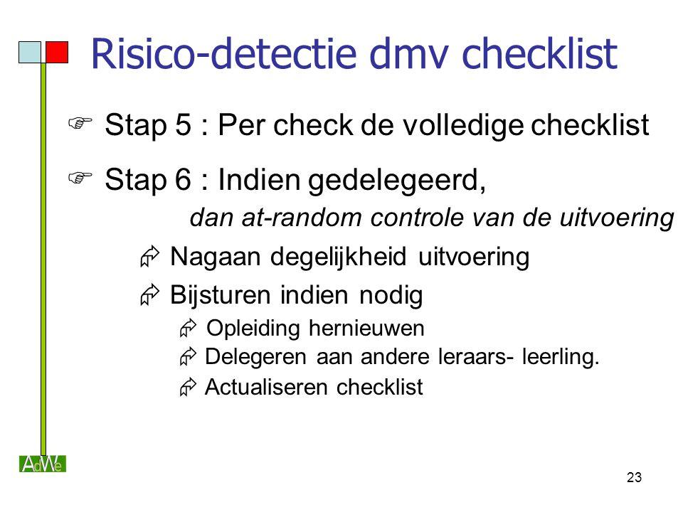 23 Risico-detectie dmv checklist  Stap 5 : Per check de volledige checklist  Stap 6 : Indien gedelegeerd, dan at-random controle van de uitvoering 