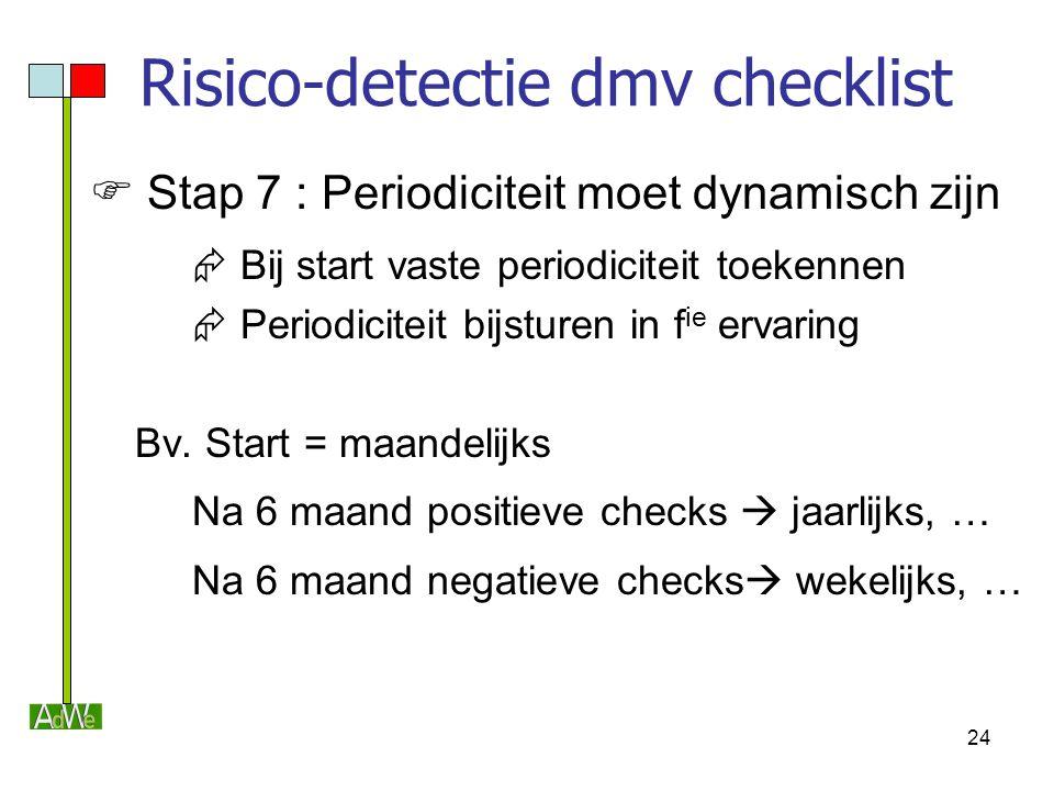 24 Risico-detectie dmv checklist  Stap 7 : Periodiciteit moet dynamisch zijn  Bij start vaste periodiciteit toekennen  Periodiciteit bijsturen in f