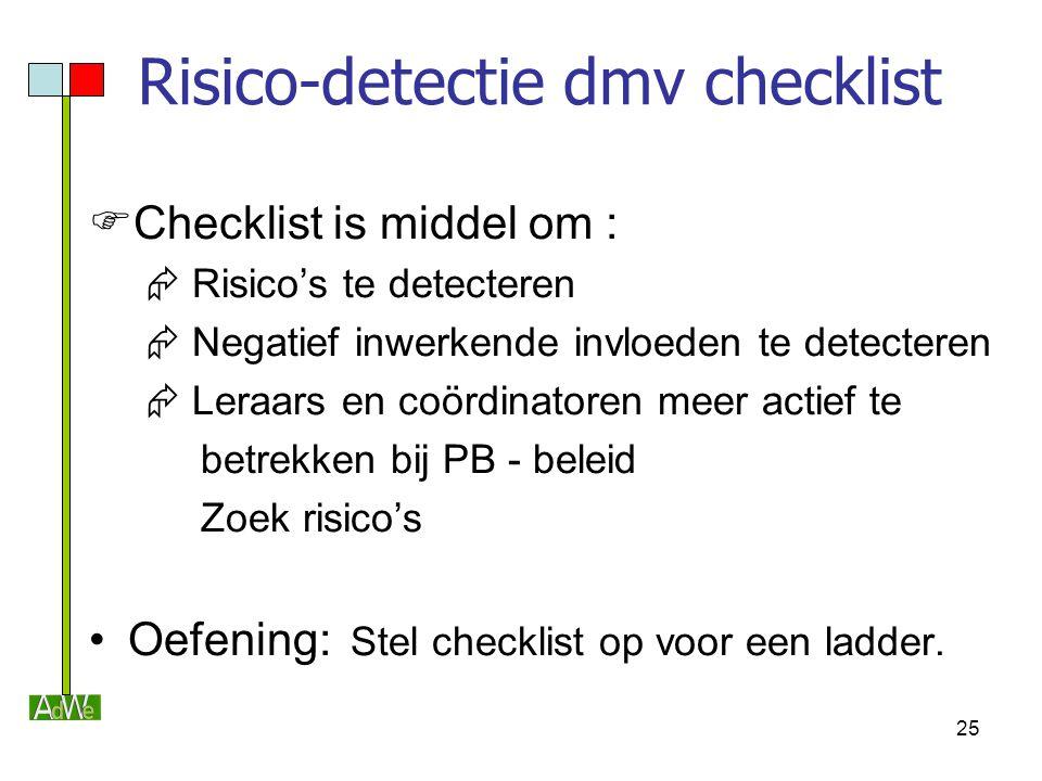 25 Risico-detectie dmv checklist  Checklist is middel om :  Risico's te detecteren  Negatief inwerkende invloeden te detecteren  Leraars en coördi
