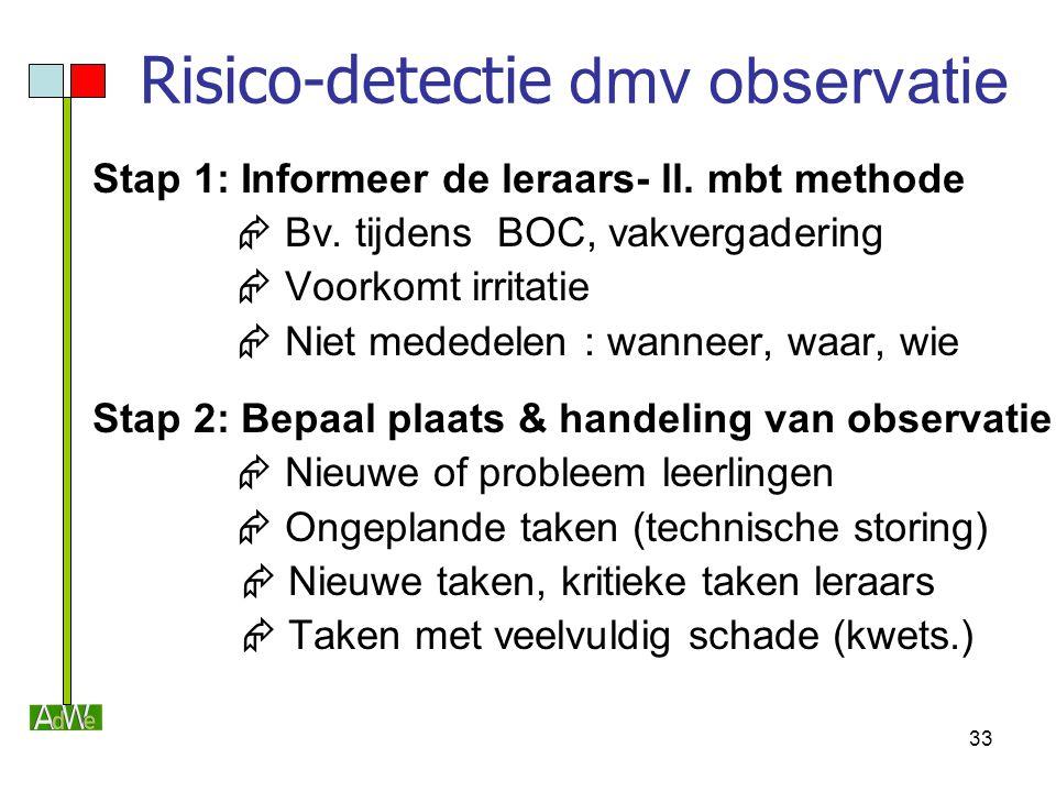 33 Risico-detectie dmv observatie Stap 1: Informeer de leraars- ll. mbt methode  Bv. tijdens BOC, vakvergadering  Voorkomt irritatie  Niet mededele