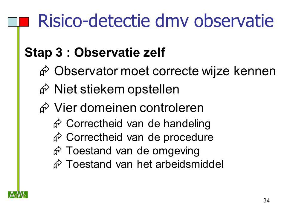 34 Risico-detectie dmv observatie Stap 3 : Observatie zelf  Observator moet correcte wijze kennen  Niet stiekem opstellen  Vier domeinen controlere