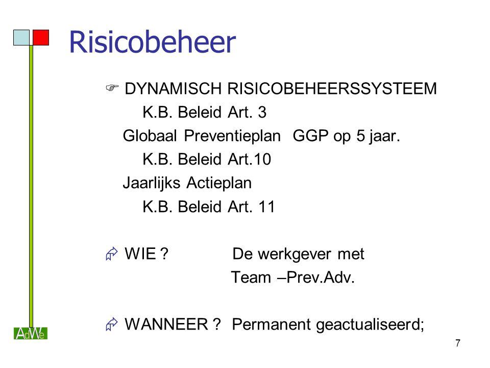 8 Risicobeheer  Doelstelling  Definitie van een werkpost  Risicobeheer  Stappenplan  Risico-detectie (checklijst & observatie, richtlijn arbeidsmiddelen)  Risico-evaluatie (Kinney & EN 1050)  Risico-reductie (preventieve maatregelen)  Beheer restrisico's