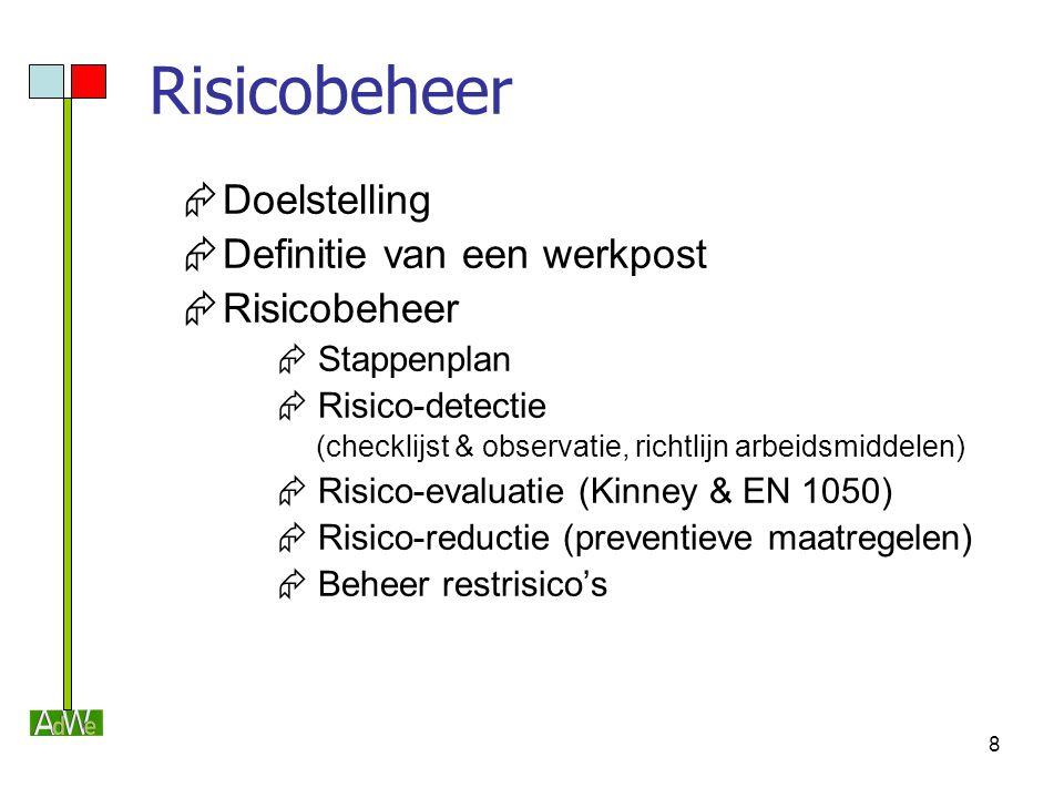 8 Risicobeheer  Doelstelling  Definitie van een werkpost  Risicobeheer  Stappenplan  Risico-detectie (checklijst & observatie, richtlijn arbeidsm