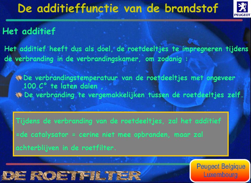 Het additief Het additief heeft dus als doel, de roetdeeltjes te impregneren tijdens de verbranding in de verbrandingskamer, om zodanig : De verbrandi