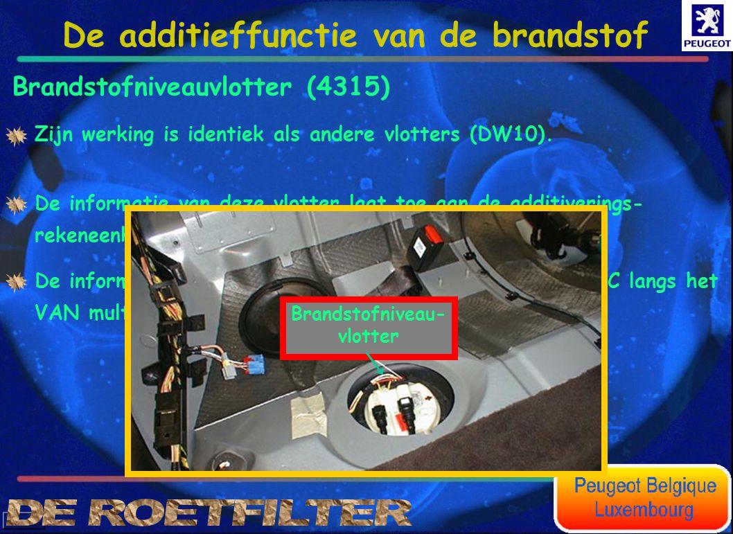 Brandstofniveauvlotter (4315) Zijn werking is identiek als andere vlotters (DW10). De informatie van deze vlotter laat toe aan de additiverings- reken