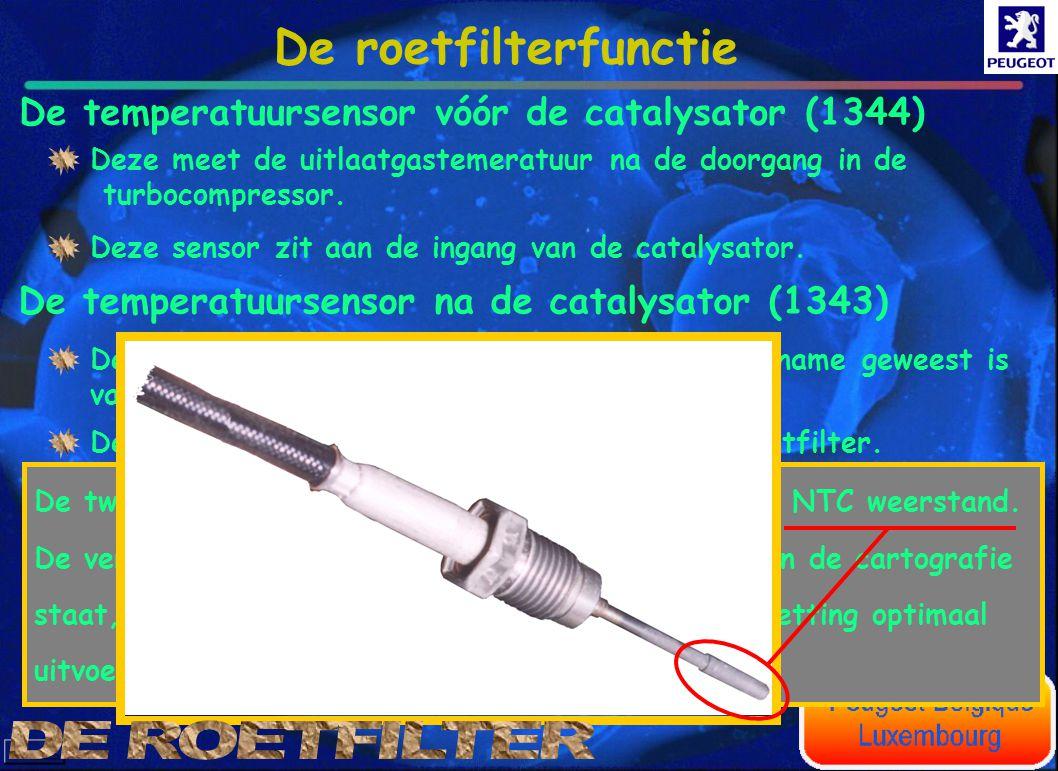 De temperatuursensor vóór de catalysator (1344) De temperatuursensor na de catalysator (1343) Deze meet de uitlaatgastemeratuur na de doorgang in de t