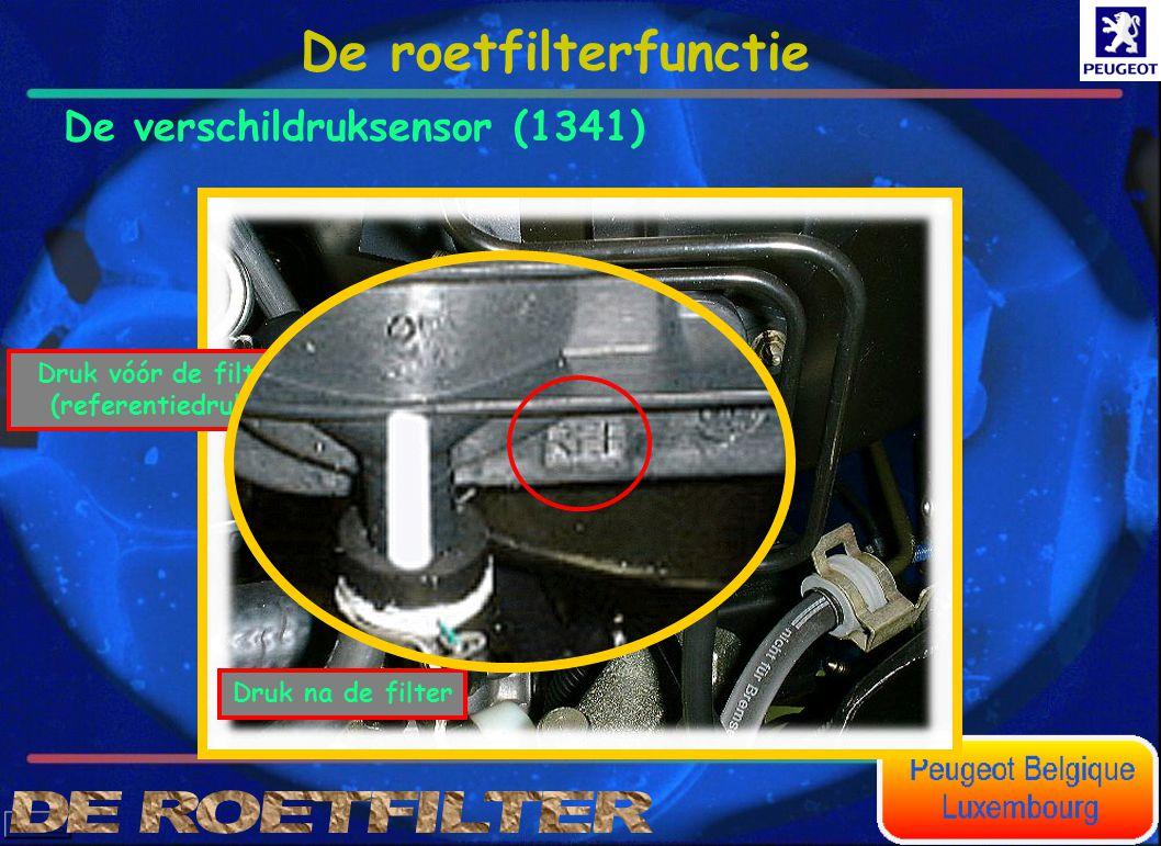 Druk na de filter Druk vóór de filter (referentiedruk). De roetfilterfunctie De verschildruksensor (1341)