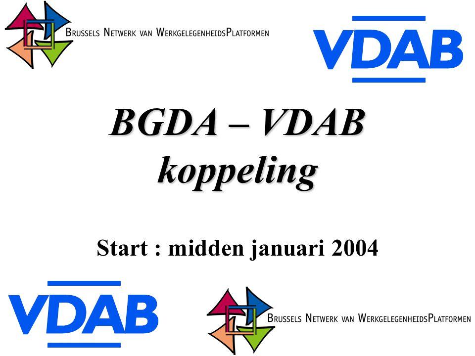 BGDA – VDAB koppeling Start : midden januari 2004