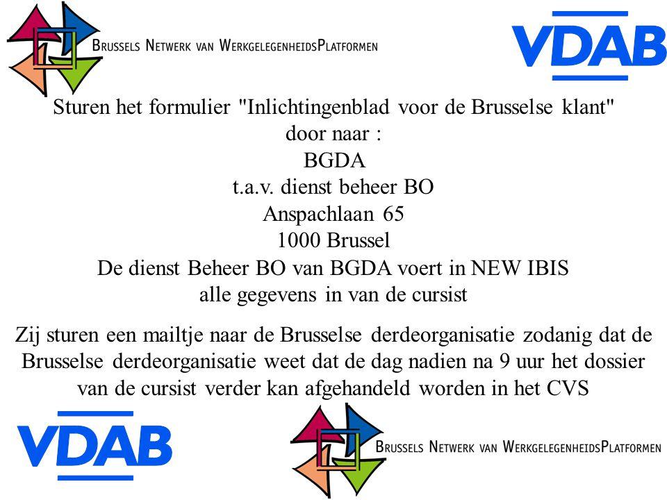 Sturen het formulier Inlichtingenblad voor de Brusselse klant door naar : BGDA t.a.v.