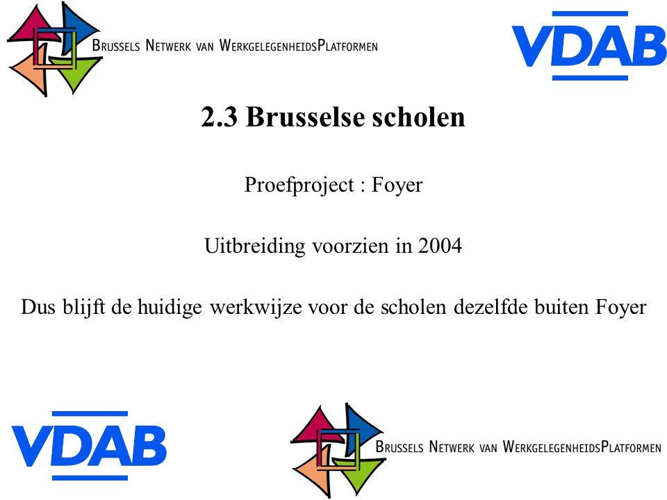2.3 Brusselse scholen Proefproject : Foyer Uitbreiding voorzien in 2004 Dus blijft de huidige werkwijze voor de scholen dezelfde buiten Foyer