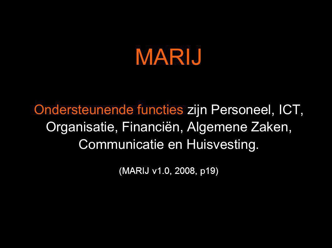 MARIJ Ondersteunende functies zijn Personeel, ICT, Organisatie, Financiën, Algemene Zaken, Communicatie en Huisvesting.