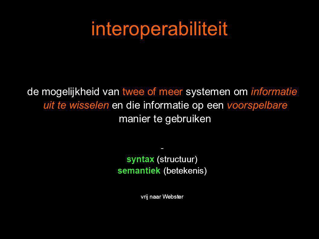 de mogelijkheid van twee of meer systemen om informatie uit te wisselen en die informatie op een voorspelbare manier te gebruiken - syntax (structuur) semantiek (betekenis) vrij naar Webster interoperabiliteit