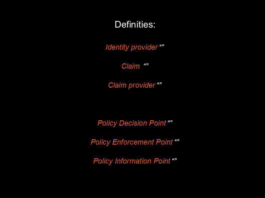 Definities: Identity provider Claim Claim provider Policy Decision Point Policy Enforcement Point Policy Information Point