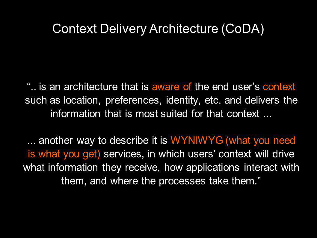 Context Delivery Architecture (CoDA)‏ ..