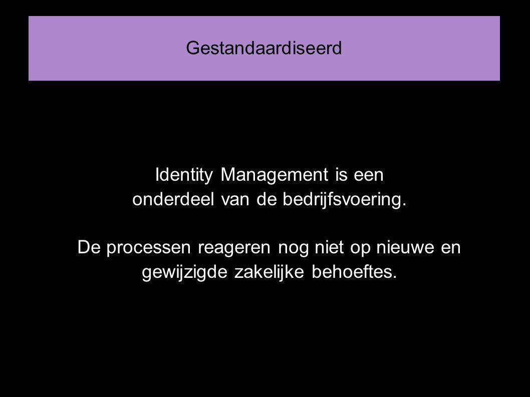 Gestandaardiseerd Identity Management is een onderdeel van de bedrijfsvoering.