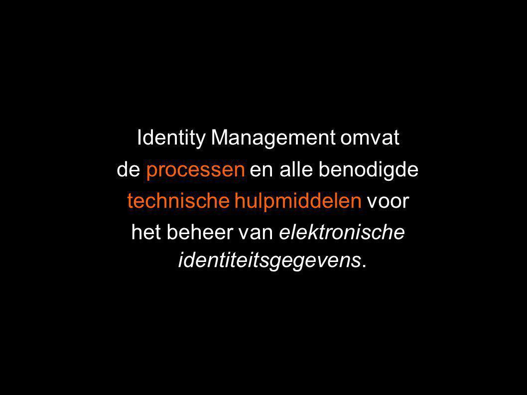 Identity Management omvat de processen en alle benodigde technische hulpmiddelen voor het beheer van elektronische identiteitsgegevens.