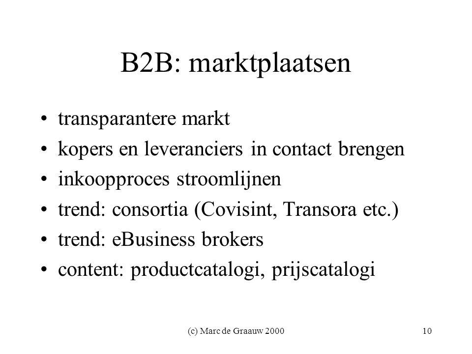 (c) Marc de Graauw 200010 B2B: marktplaatsen transparantere markt kopers en leveranciers in contact brengen inkoopproces stroomlijnen trend: consortia (Covisint, Transora etc.) trend: eBusiness brokers content: productcatalogi, prijscatalogi