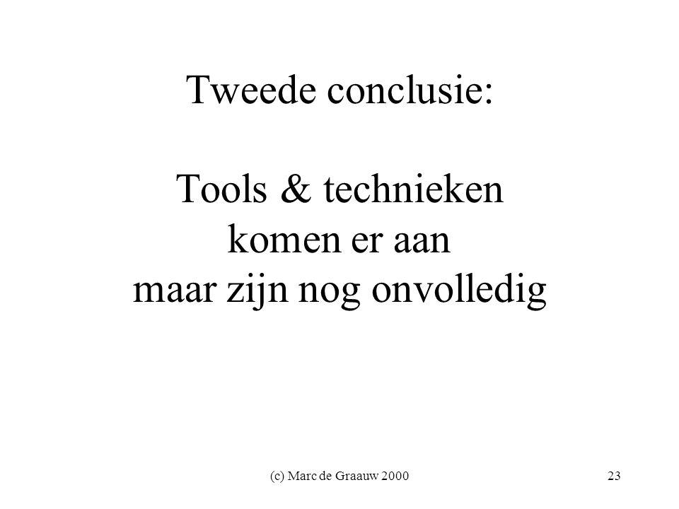 (c) Marc de Graauw 200023 Tweede conclusie: Tools & technieken komen er aan maar zijn nog onvolledig