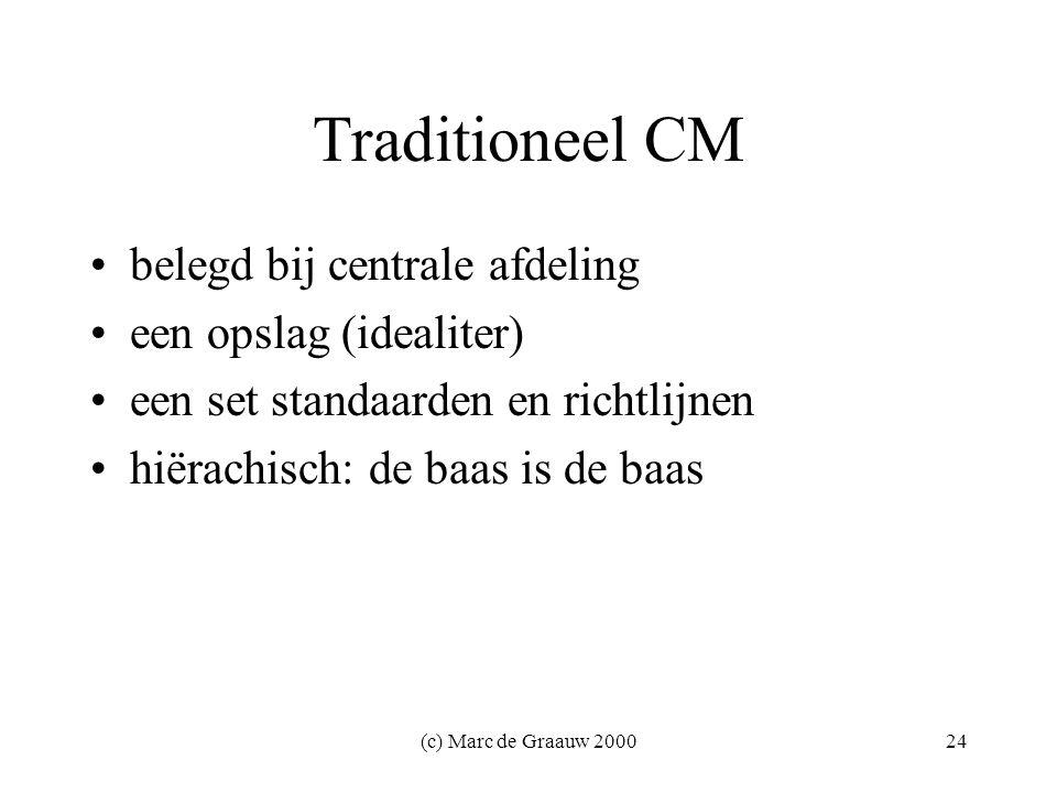 (c) Marc de Graauw 200024 Traditioneel CM belegd bij centrale afdeling een opslag (idealiter) een set standaarden en richtlijnen hiërachisch: de baas is de baas