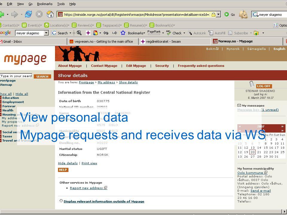 PIP bouwt mee aan de e-overheid Persoonlijke Internetpagina View personal data Mypage requests and receives data via WS