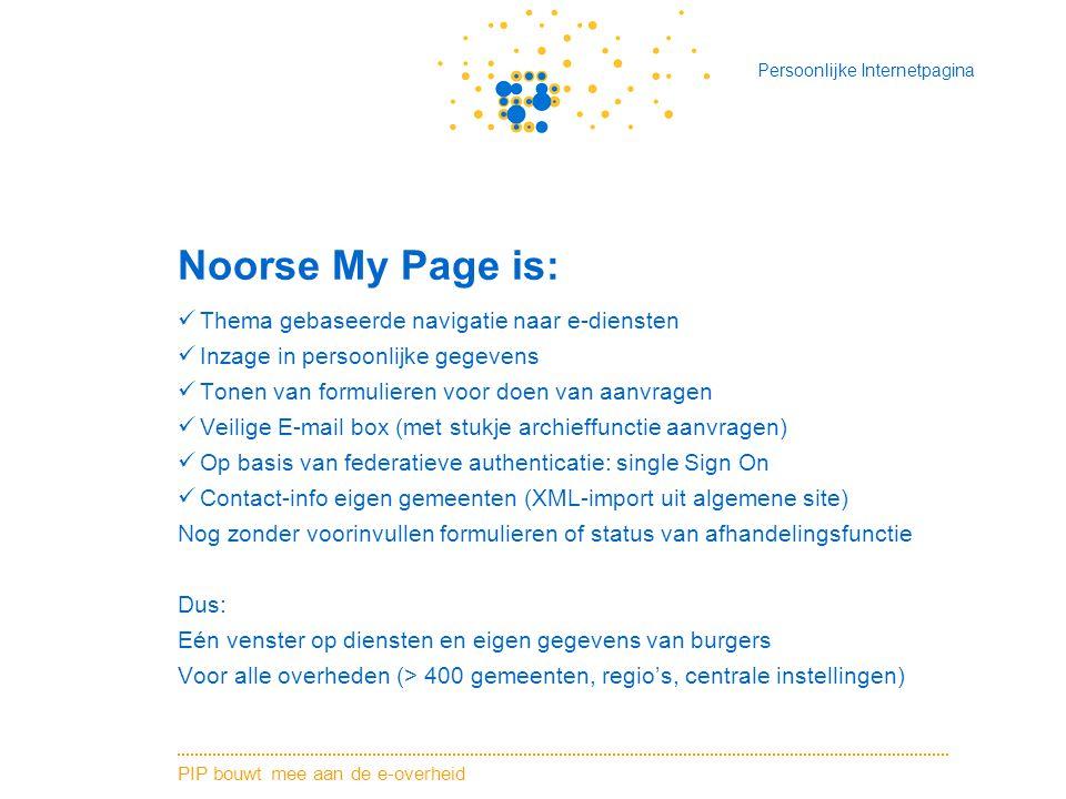 PIP bouwt mee aan de e-overheid Persoonlijke Internetpagina Noorse My Page is: Thema gebaseerde navigatie naar e-diensten Inzage in persoonlijke gegevens Tonen van formulieren voor doen van aanvragen Veilige E-mail box (met stukje archieffunctie aanvragen) Op basis van federatieve authenticatie: single Sign On Contact-info eigen gemeenten (XML-import uit algemene site) Nog zonder voorinvullen formulieren of status van afhandelingsfunctie Dus: Eén venster op diensten en eigen gegevens van burgers Voor alle overheden (> 400 gemeenten, regio's, centrale instellingen)