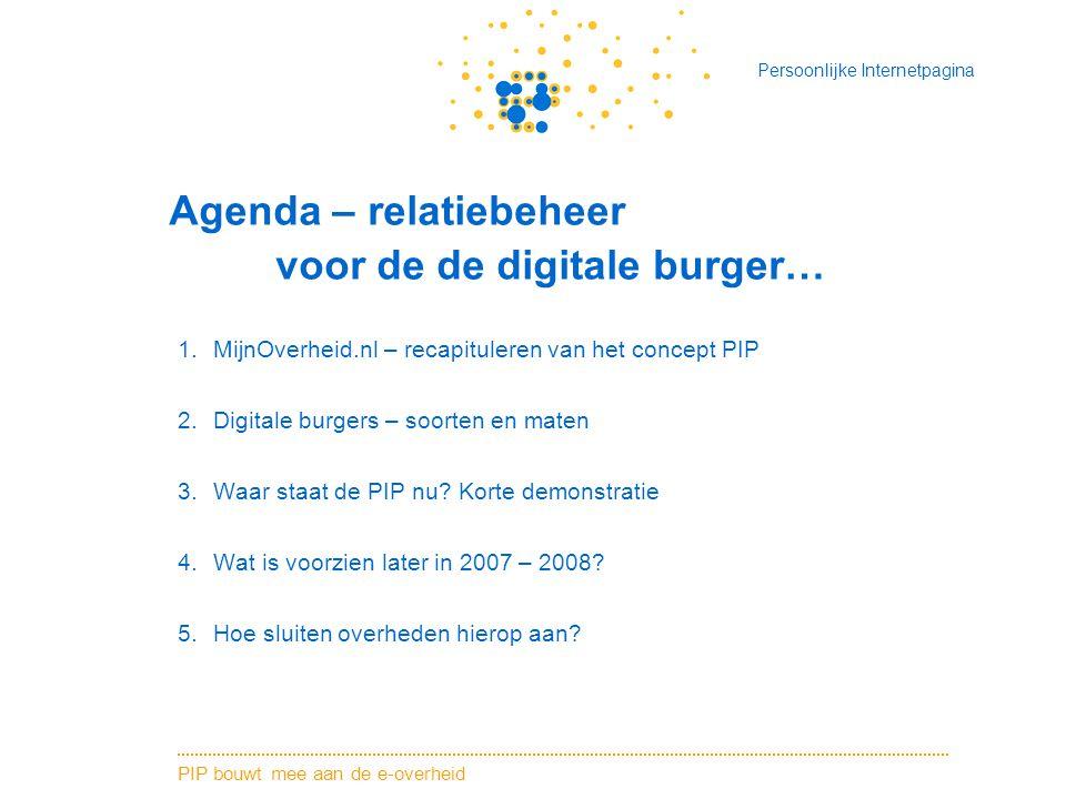PIP bouwt mee aan de e-overheid Persoonlijke Internetpagina Agenda – relatiebeheer voor de de digitale burger… 1.MijnOverheid.nl – recapituleren van het concept PIP 2.Digitale burgers – soorten en maten 3.Waar staat de PIP nu.