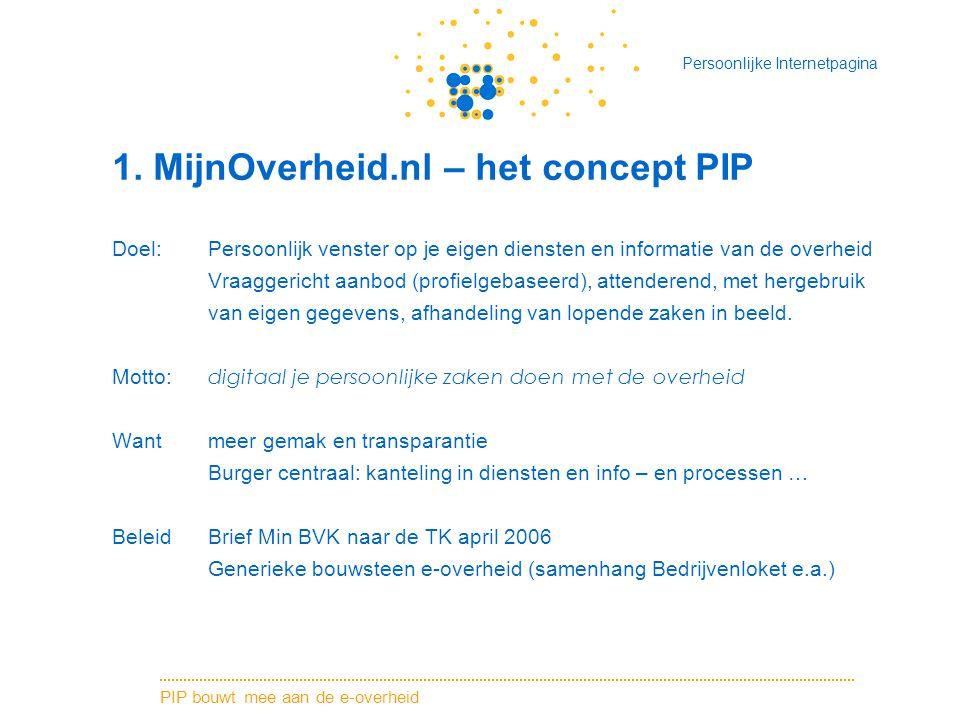 PIP bouwt mee aan de e-overheid Persoonlijke Internetpagina 1. MijnOverheid.nl – het concept PIP Doel: Persoonlijk venster op je eigen diensten en inf