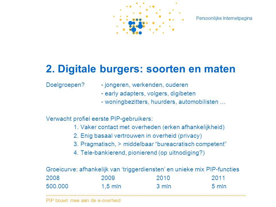 PIP bouwt mee aan de e-overheid Persoonlijke Internetpagina 2. Digitale burgers: soorten en maten Doelgroepen?- jongeren, werkenden, ouderen - early a